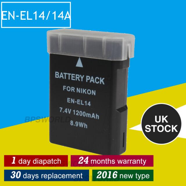 Fully Decoded Battery for Nikon EN-EL14 14a D3100 D3200 P7000 P7700 D5500 df UK