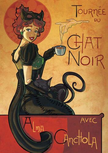 Canvas Chat Noir poster 1895 black cat by Steinlen fine.. Art Print Poster