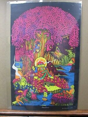 Vintage Black light Poster Magic Forest 1971 saladin G658 Not perfect