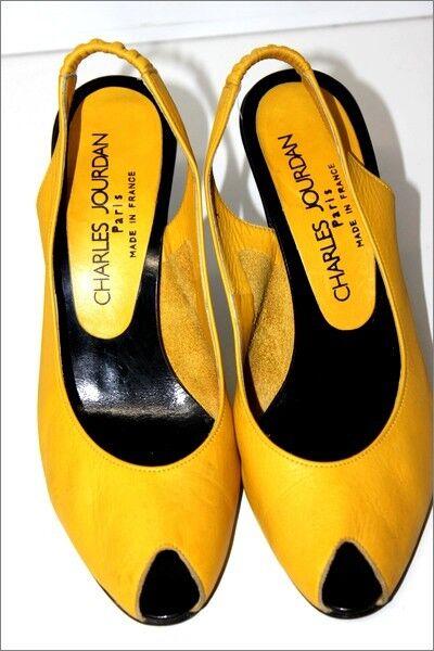 CHARLES CHARLES CHARLES JOURDAN Escarpins Ougreens Vintage Tout cuir yellow Vif T 8 B   38.5 TTBE 48f9ed