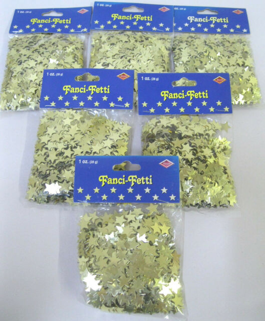 6 X Beistle Fanci-Fetti Mylar GOLD STAR Stars Confetti Party Decor, 1 oz (28g)