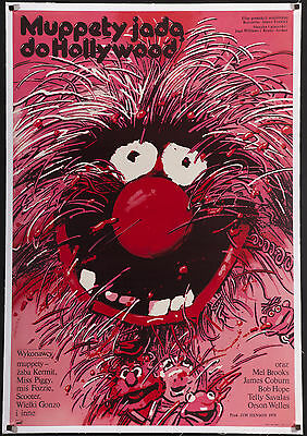 "THE MUPPET MOVIE 1979 Amazing 26""x38"" 'Animal' style Polish poster linen-backed"