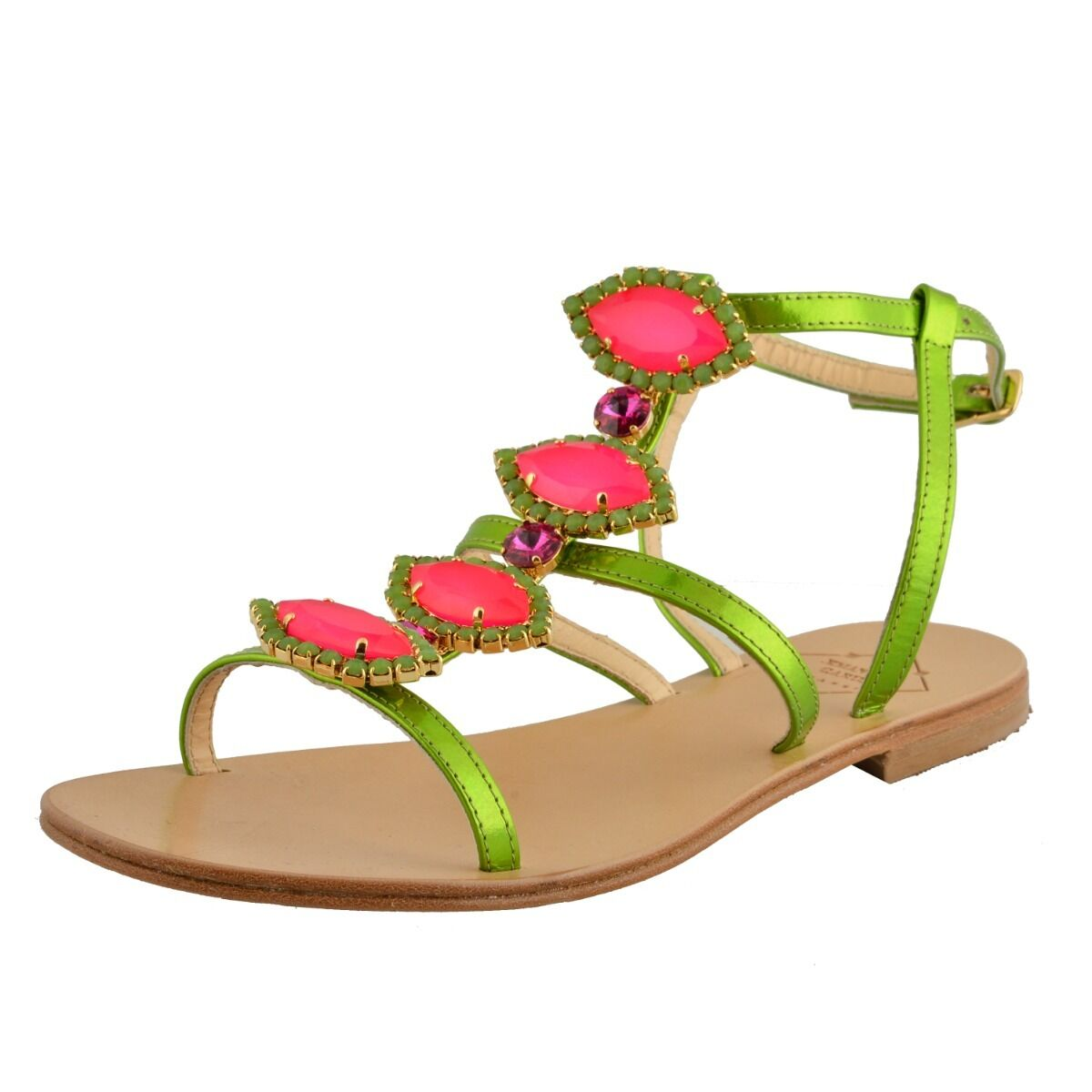 Emanuela Caruso Capri Women's Stones Decorated Flat Sandals shoes Size 5 6 7 9