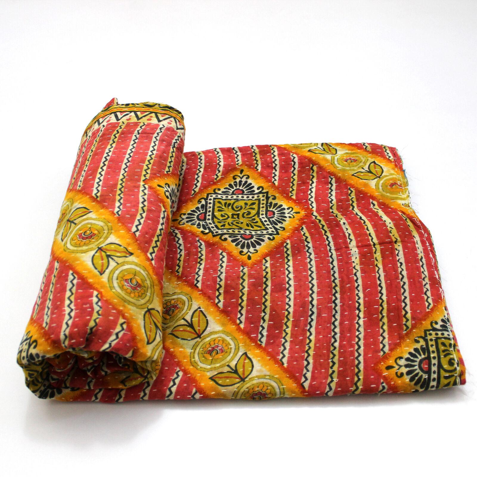 Vintage Quilt Indian Handmade Organic Cotton Bedspread Bohemian Blanket Throw