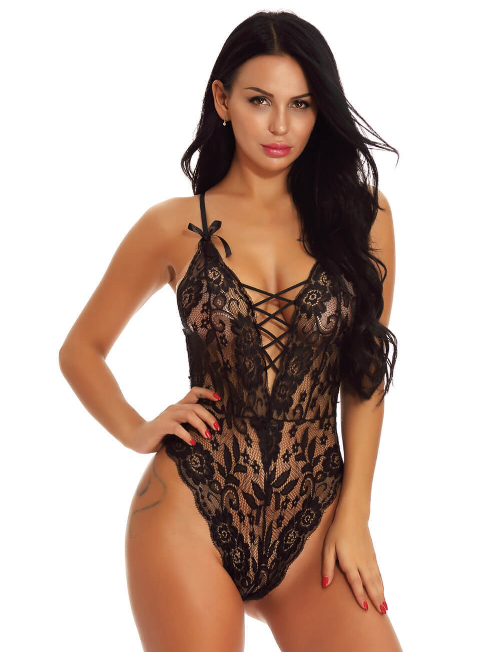 In Size Medium One Piece Stretch Lace Deep V Neck Lace Body Suit Teddie