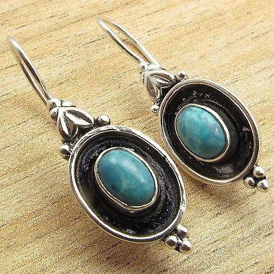 925 Silver Plated VINTAGE STYLE Earrings ! Natural LARIMAR Gemstone ! ONLINE BUY