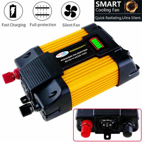 6000W Peaks 12V DC To 110V 220V AC Car USB Power Inverter Converter Adapter