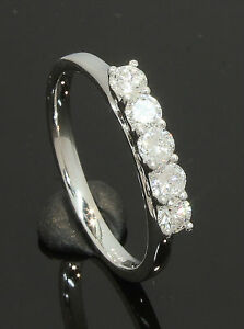 18-Carat-White-Gold-5-Stone-Diamond-Ring-0-49ct-Size-M-1-2-18CT-70-17-220