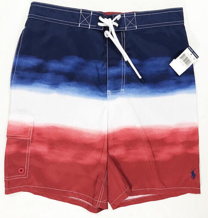 Men's RALPH LAUREN America Red White bluee Swimsuit Swim Trunks L Large NWT NEW
