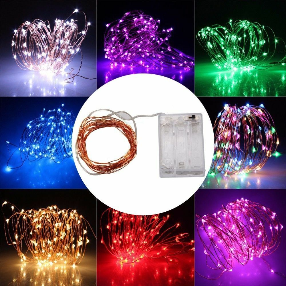 3aa Battery 10m 33ft 100 Led Operated Mini Led Copper Wire