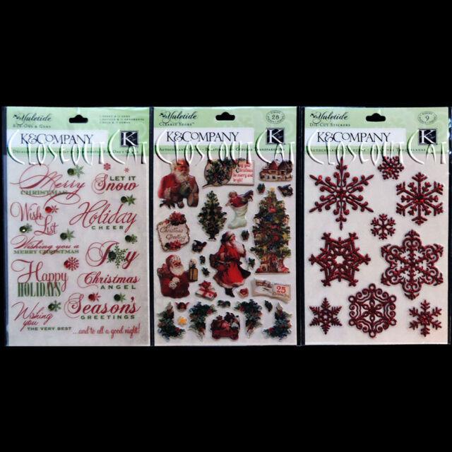 k company lot yuletide christmas words rub ons snowflakes santa icon stickers