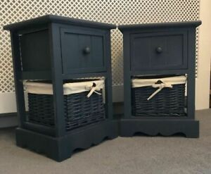 2-x-NEW-BEDSIDE-NIGHTSTANDS-GREY-READY-ASSEMBLED-WITH-WICKER-BASKET-SIDE-TABLES
