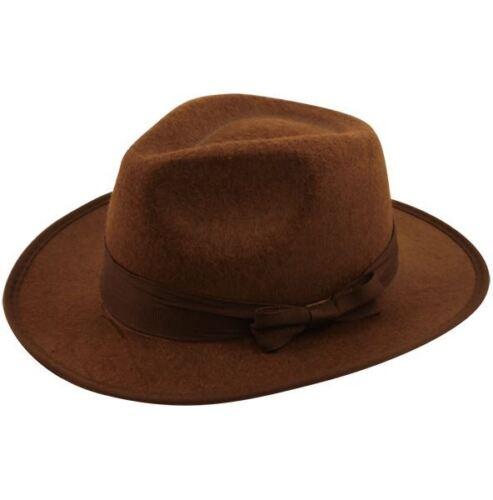 Adult Mens Safari Indiana Jones Explorer Jungle Fancy Dress Fedora Hat Accessory