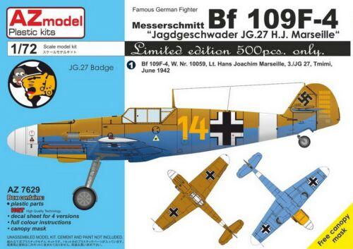Marseille/' NEW 1:72 AZ Model 7629 Messerschmitt Bf-109F-4 /'JG 27 H.J