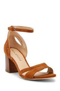 a5542014bcba Via Spiga Christa Suede Leather Block Heel Sandal Tawny 9M New Gold ...