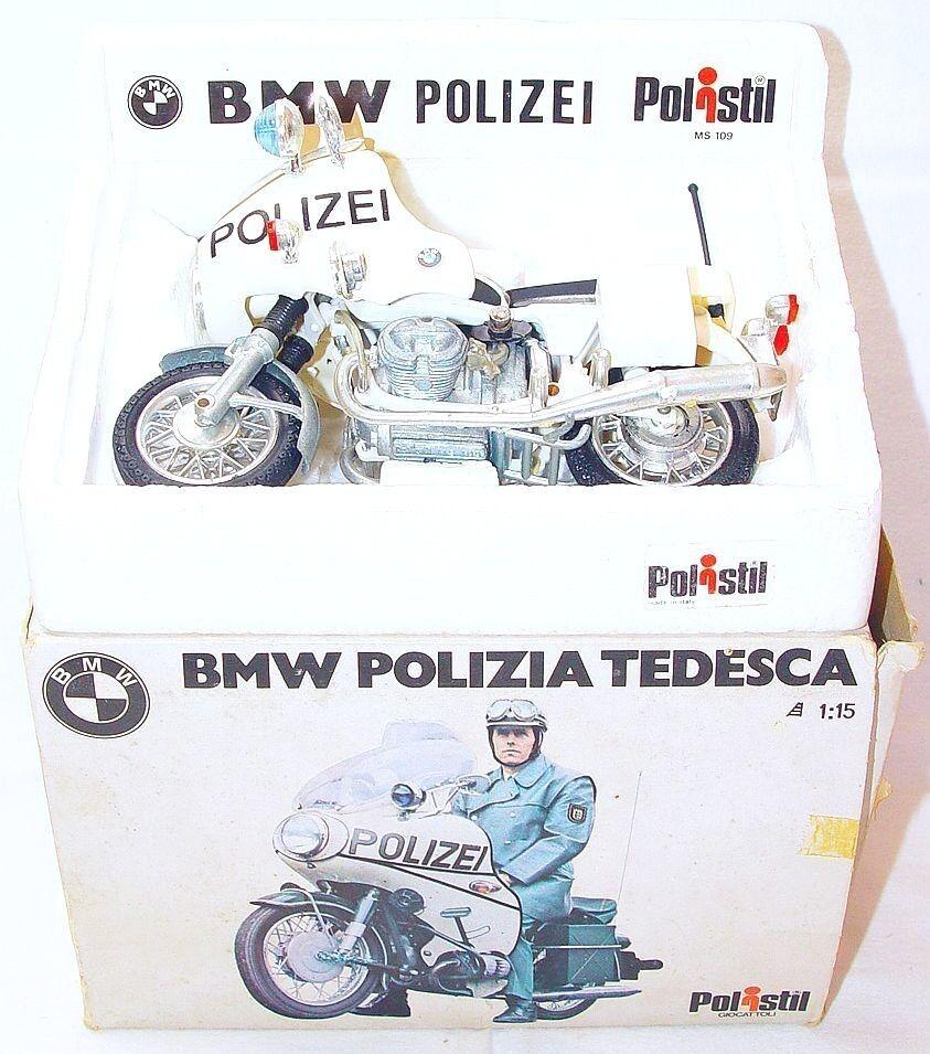 Polistil Italy 1:15 BMW German Polizei POLICE Motorcycle + Stand NMIB`74 RARE