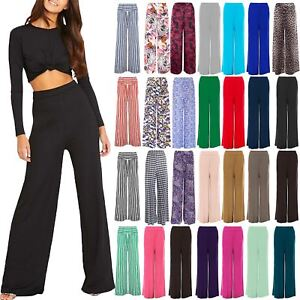 Plus Size Womens Ladies Plain Flared Palazzo Wide Legged Legging Pant Trousers