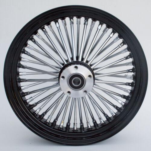 """Black /& Chrome Ultima 48 King Spoke 16/"""" x 3.5/"""" Rear Wheel for Harley Models"""