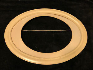 Antique-Vintage-White-Wood-Oval-Picture-Fame-With-Mat