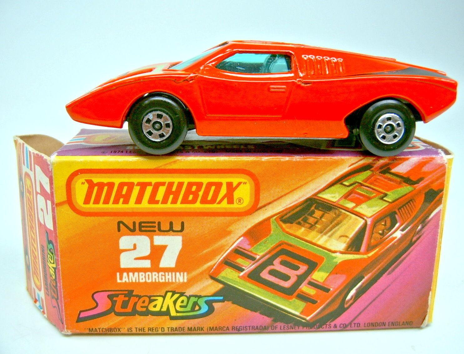 MATCHBOX SUPERFAST n. 27b LAMBORGHINI COUNTACH ROSSO GRIGIA istituzione in box
