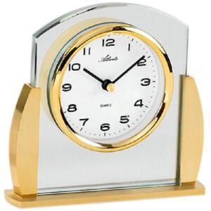 Atlanta-3038-9-Stiluhr-Tischuhr-Quarz-analog-golden-mit-Glas