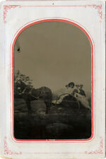 1/2 PLATE ANTIQUE OUTDOOR TINTYPE PHOTO OF PEOPLE RIDING HORSE DRAWN CARRIAGE