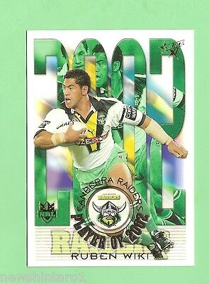 2003 Rugby League Card Cp3 Rubien Wiki Canberra Raiders Player Of 2002 Ebay
