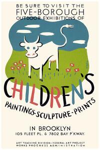 2689.Children/'s paintings-sculpture-prints in Brooklyn POSTER.Decorative Art.