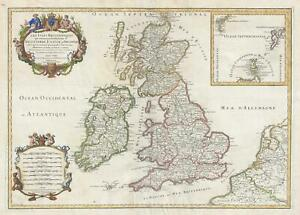 Details about 1709 Jaillot Map of the British Isles
