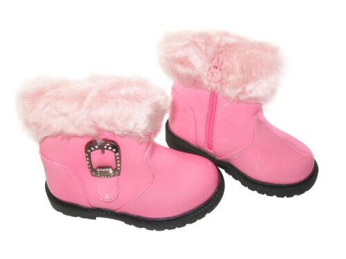 Winter Boots Warm Fur Snow Shoes Faux Diamante Buckle Girls Kids Child Toddler