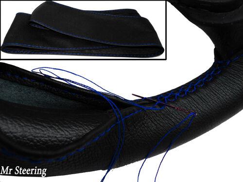Pour Fiat Punto MK1 cuir noir véritable volant couvrir 1993-1999 bleu stitch