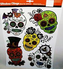 Halloween Window Clings DAY OF THE DEAD SKULLS