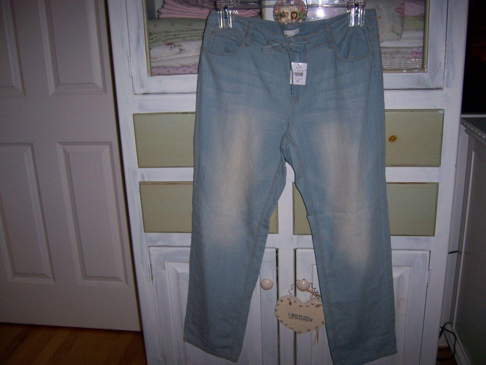 NWT 89 J.Jill Saltwash Denim Blau Summer Wt Crop Capri Jeans 100%Cotton 8 S M