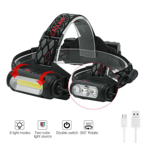 2*18650 USB Rechargeable Headlamp White//Red//Green Light 3XLED Hunting Headlight