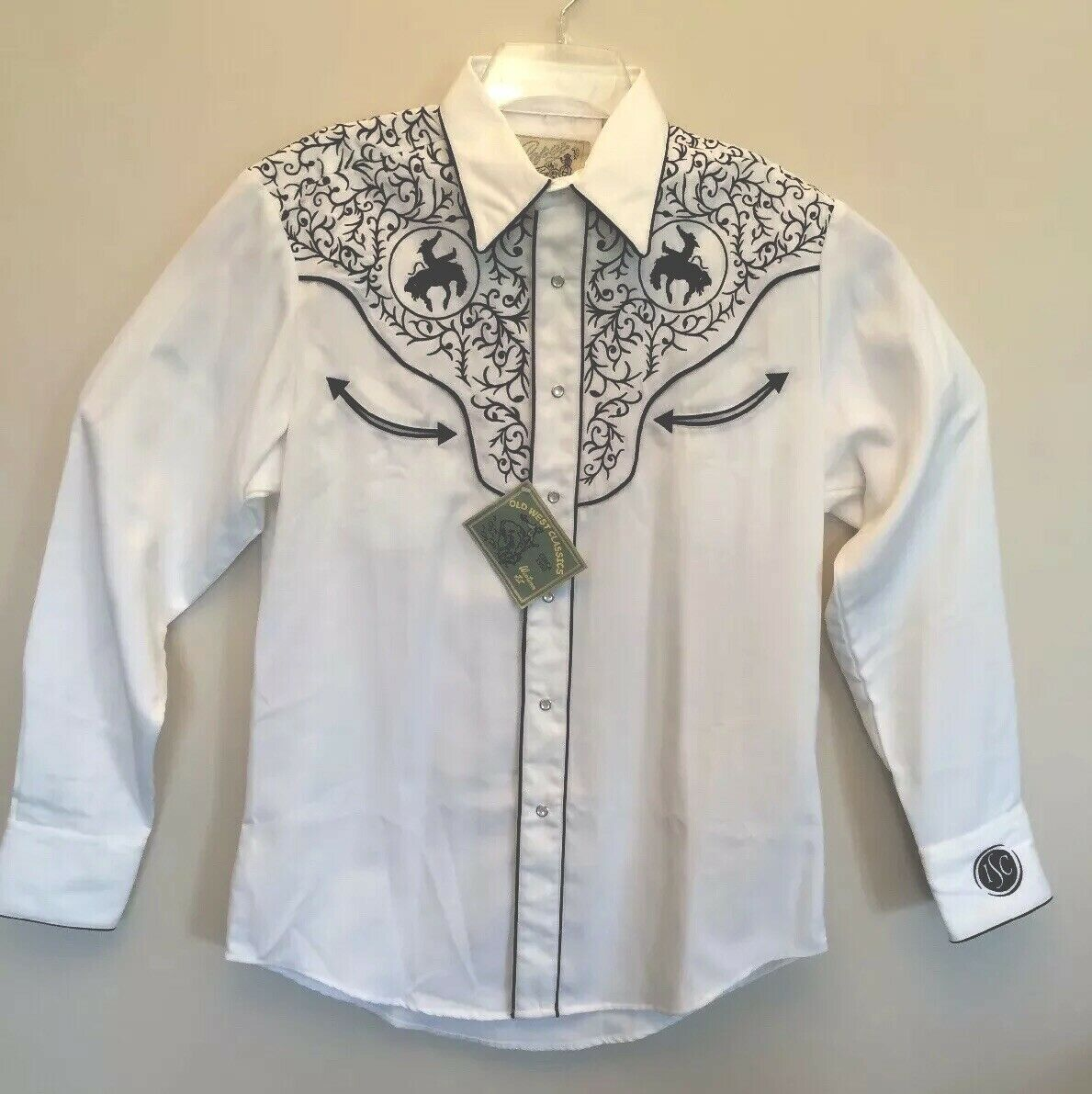 bf072efc Old West Western Fit Embroidered Rodeo Shirt Medium NWT Classics Roper  nsqsge2115-Casual Button-Down Shirts