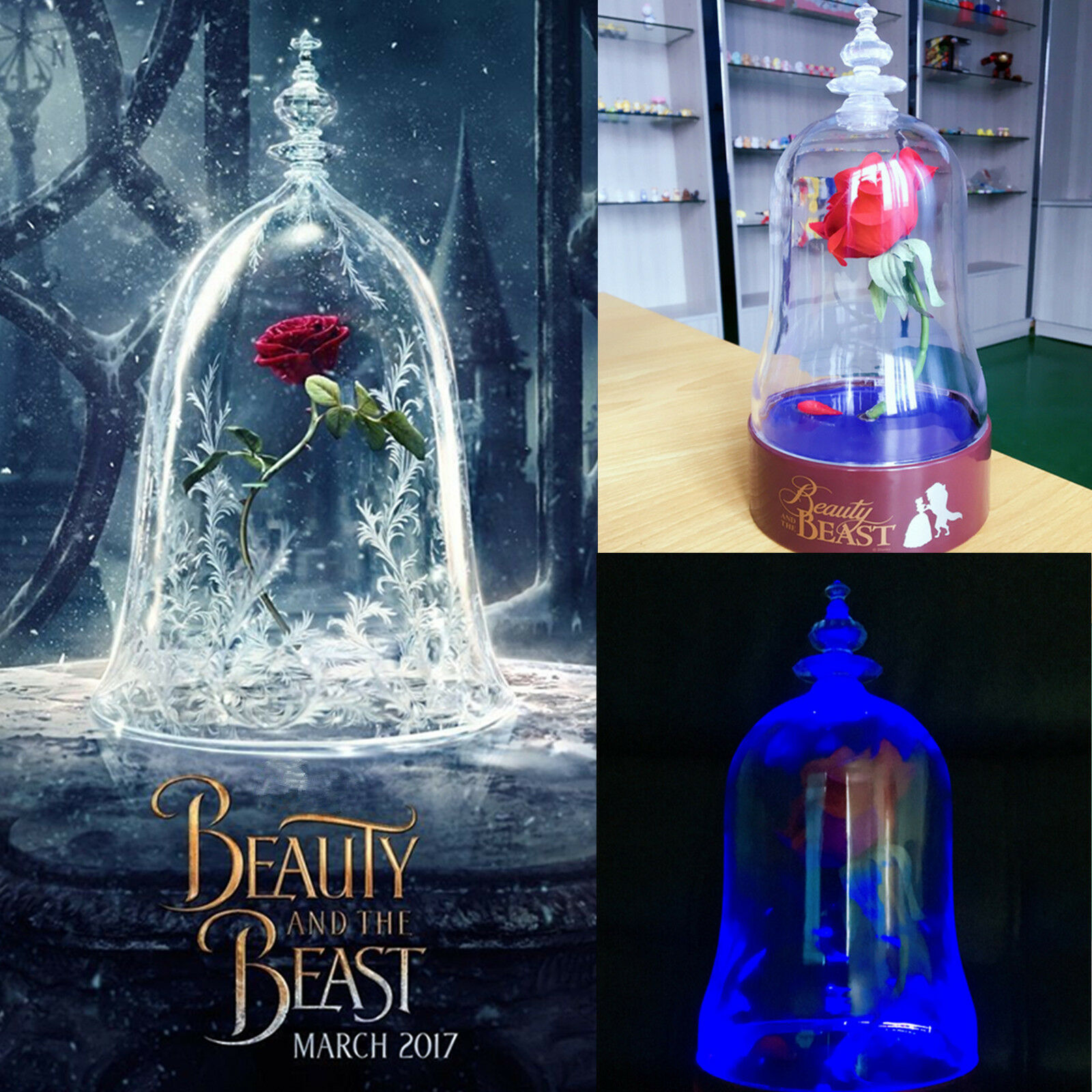 Beauty And Beast Rose Jar: Beauty And The Beast Rose Light Bell Jar Lamp Light Night