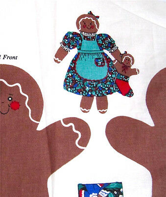 Christmas Cookie Gingerbread Dolls Fabric Panel Sew Stuff Doll & Dress 19 in
