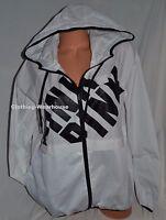 Victoria's Secret Pink Windbreaker Anorak Hoodie Jacket White Mesh Full Zip Xs/s