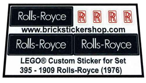 1976 Precut Custom Replacement Stickers for Lego Set 395-1909 Rolls-Royce