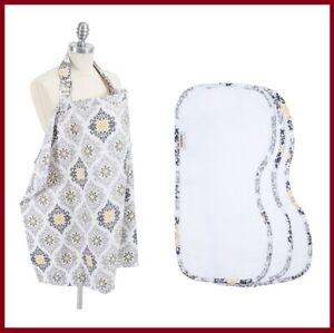 Bebe au Lait Nursing Cover + Burp Cloths Essentials 4 Piece Set, Modern Astoria