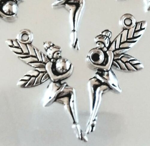 12 Fairy Charms Antique Silver Pewter fairies Angel Charm 25mm