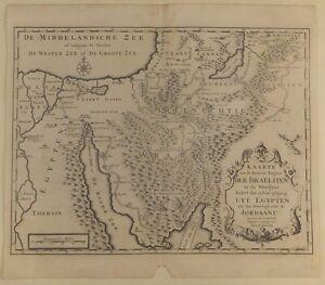 Carte Du Voyage Des Israelites, Gravure Néérlandaise D'après Calmet, Début 18e