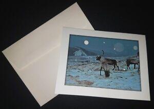 034-Canadian-Elk-by-Moonlight-034-Wildlife-Lover-Notecard-with-Envelope