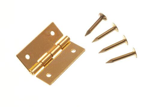 """3//4/"""" PINS-par un 6 X Mini bijoux Boîte charnières de meuble en laiton massif 19 mm"""