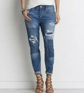 American-Eagle-Jeans-6-Tomgirl-Medium-Wash-Distressed-Womens-Denim-Cropped