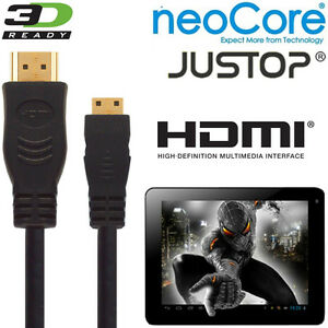 neoCore-Elite-JUSTOP-Jtouch-Android-Tablet-PC-HDMI-Mini-to-HDMI-TV-2-5m-Cable