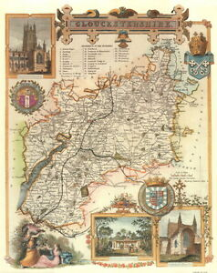 Map of Gloucestershire 19th Century Repro Gloucestershire Map