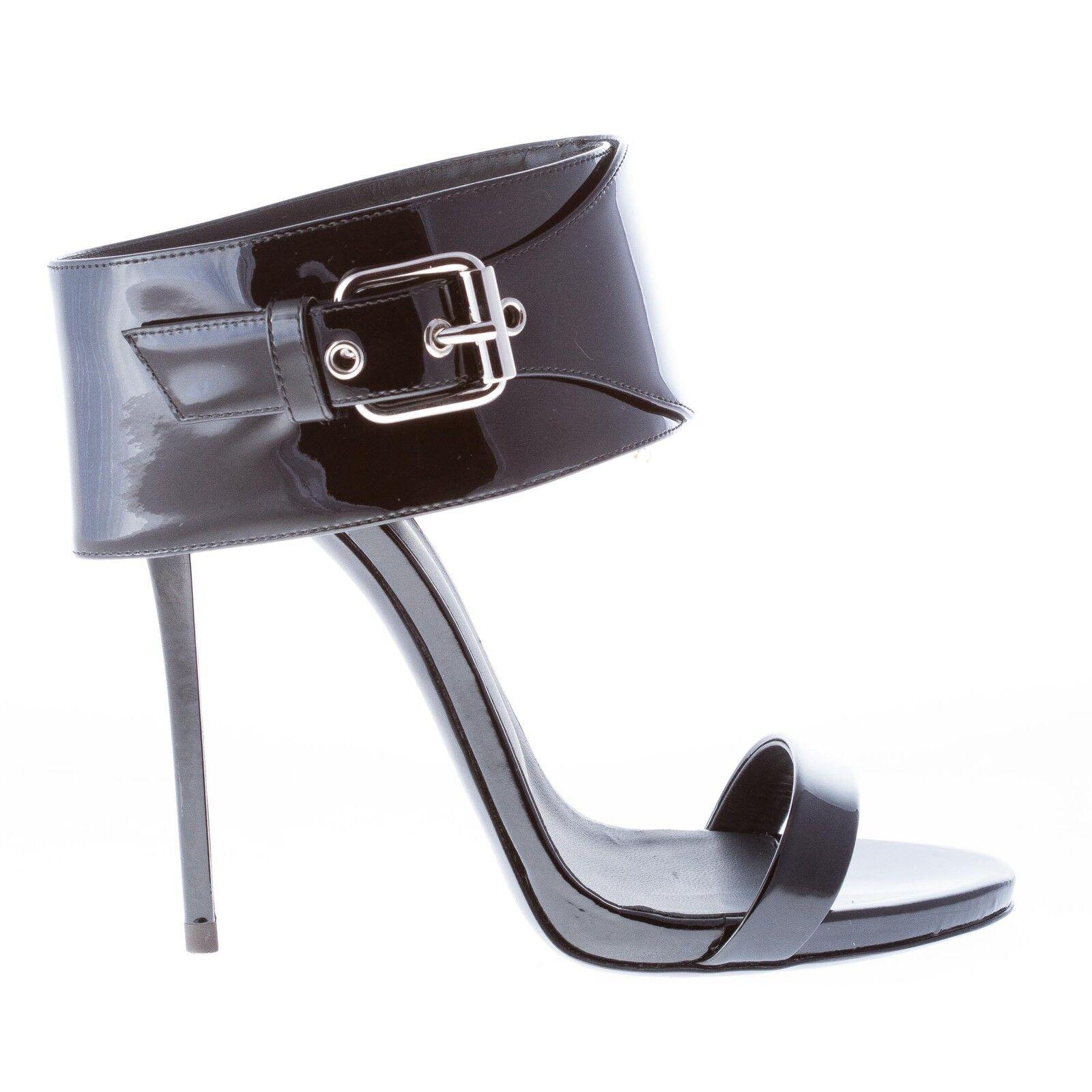 GIUSEPPE ZANOTTI DESIGN scarpe donna sandalo vernice nera fascia alla caviglia