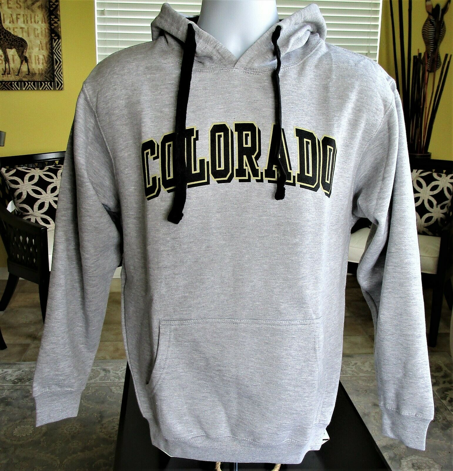 BS2U Mens Colorado Geo Graphic Hooded Hoodies Sweatshirt Pullover Tops