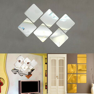 6pcs Square Modern Mirror Self Adhesive Wall Stickers Decal Room Home Decor Art